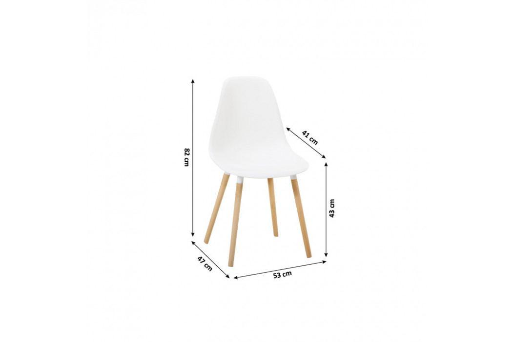 Stolička, biela plast/buk, KALISA