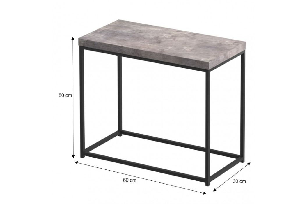 Príručný stolík, čierna/betón, TENDER