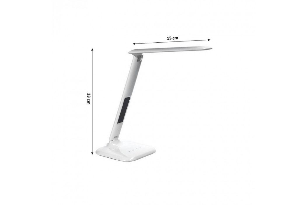 Stolná lampa s displejom, biely lesk, WO43