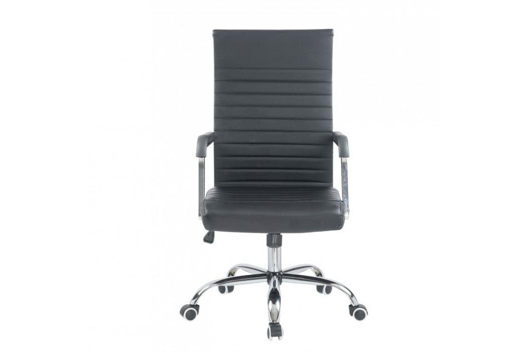 Kancelárske kreslo, ekokoža/kov, čierna/chróm, FARAN