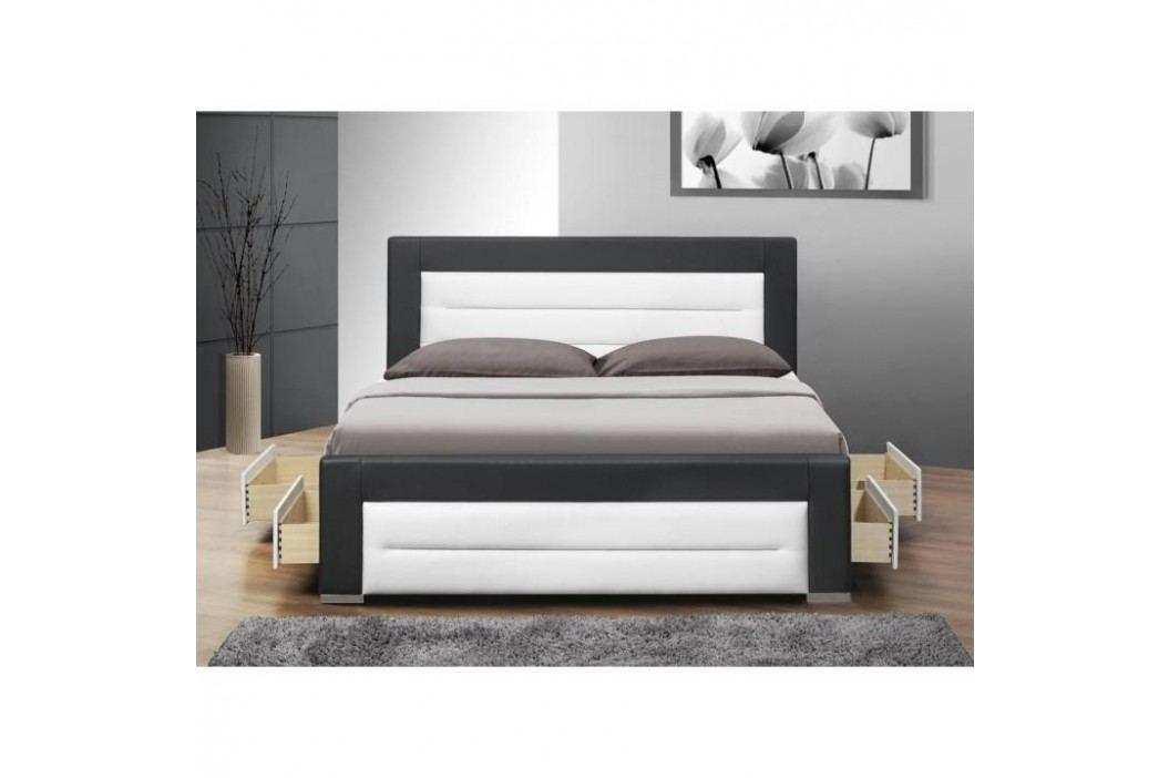 Manželská posteľ, s roštom a šuflíkmi, ekokoža čierna/biela, 160x200, NAZUKA