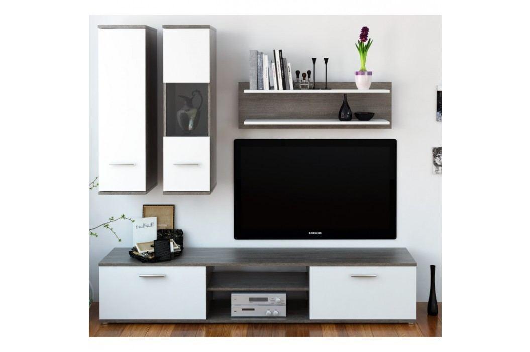 Obývacia stena, dub truflový/biela, WAW NEW