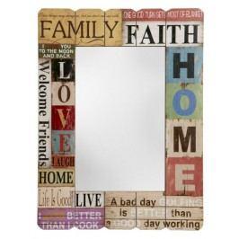 Nástenné zrkadlo FAMILY, FAITH, HOME ... - viacfarebná