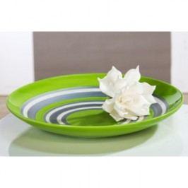 Dekoratívny tanier ORLANDO - biela/zelená/strieborná