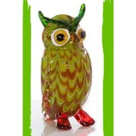 Sklená soška OWL - zelená
