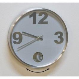 Nástenné kyvadlové hodiny SPACE OF TIME - biela/strieborná