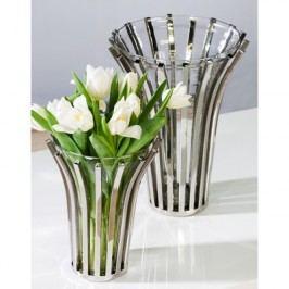 Váza ATLANTA L - strieborná/číra