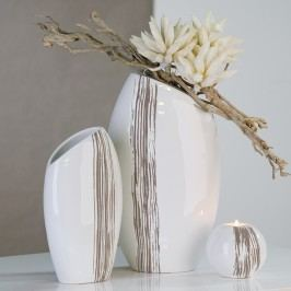 Dekoratívna váza STRIPES II L- biela