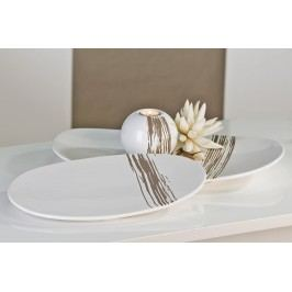 Dekoratívny tanier STRIPES S - biela
