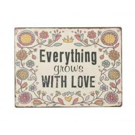 Ceduľa EVERYTHING GROWS WITH LOVE - béžová