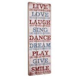 Drevená ceduľa LIVE, LOVE, LAUGH - biela