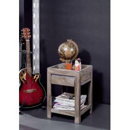 Bighome - ROUND Príručný stolík 40x40 cm, dymová, palisander