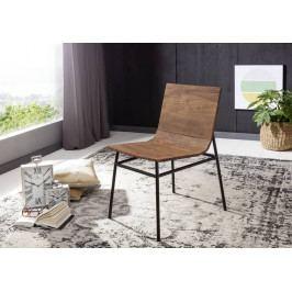 Bighome - PURE NATURE Stolička drevená s plným operadlom - čierne nohy, akácia