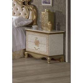 Bighome - Nočný stolík TATJONA - zlatá, krémová