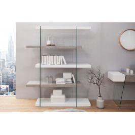 Bighome - Regál ONOX 180x140cm - biela, sivá, priehľadná