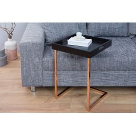 Bighome - Príručný stolík CIENA - medená, čierna