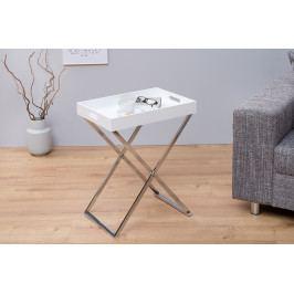 Bighome - Príručný stolík VALIENTA - biela, strieborná