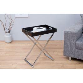 Bighome - Príručný stolík VALIENTA - čierna, strieborná