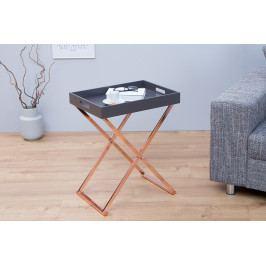 Bighome - Príručný stolík VALIENTA - sivá, medená