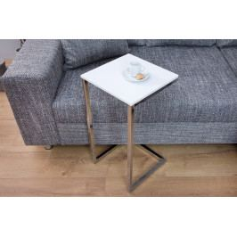 Bighome - Príručný stolík SIMPLE 60 cm - biela, strieborná