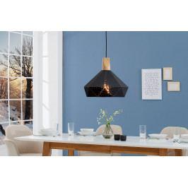 Bighome - Visiaca lampa SCANDINIA - čierna, prírodná