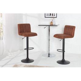 Bighome - Barová stolička PORTER - vintage hnedá, čierna