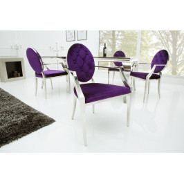 Bighome - Stolička BARROCK s opierkou - fialová