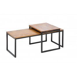 Bighome - Set 2 konferenčných stolíkov MOBILE - hnedá, čierna