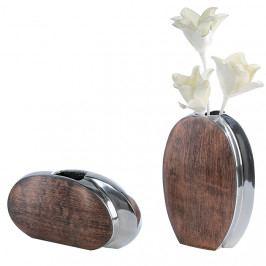 Bighome - Váza TIN  30 cm - strieborná