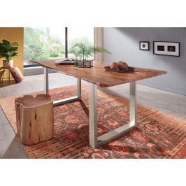 Bighome - METALL Jedálenský stôl so striebornými nohami 140x90, akácia, prírodná