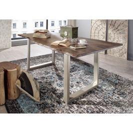 Bighome - METALL Jedálenský stôl so striebornými nohami 120x90, akácia, sivá