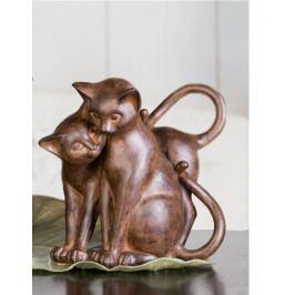 Bighome - Dizajnové figúrky CAT COUPLE I. - hnedá