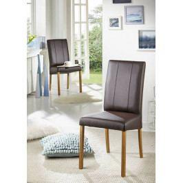 Bighome - HAMBURG Jedálenská stolička, koža, hnedá