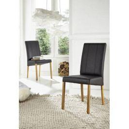 Bighome - HAMBURG Jedálenská stolička, koža, čierna