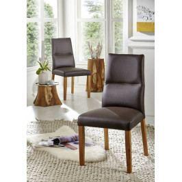 Bighome - HAMBURG III. Jedálenská stolička,koža, hnedá