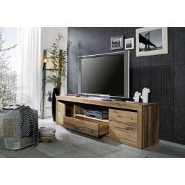 Bighome - VEVEY TV stolík 202x55 cm, tmavohnedá, dub