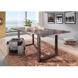 Bighome - METALL Jedálenský stôl s hnedými nohami 220x100, akácia, hnedá