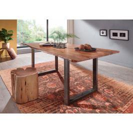 Bighome - METALL Jedálenský stôl s hnedými nohami 220x100, akácia, prírodná