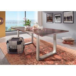 Bighome - METALL Jedálenský stôl so striebornými nohami 140x90, akácia, hnedá