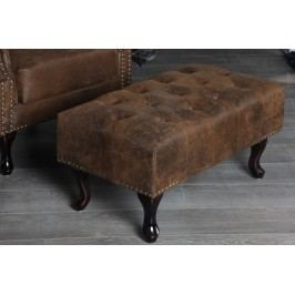 Taburetka CHESTERFIELD STOOL VINTAGE  antik look - hnedá
