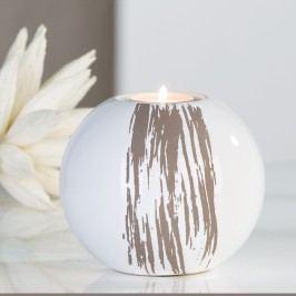 Dekoratívny svietnik STRIPES - biela/sivá