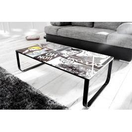 Konferenčný stolík COMIC 105 cm - biela/čierna