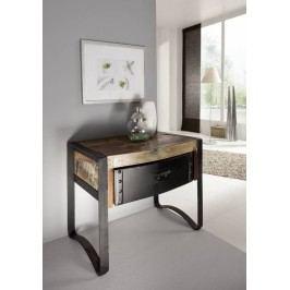 nočný stolík #11, liatina a staré drevo