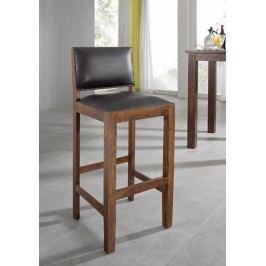 Koloniálna barová stolička, pravá koža, masívne akáciové drevo