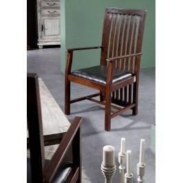ZENO  Koloniálne čalúnené kreslo, masívny akáciový nábytok, čierna