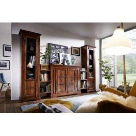 Koloniálna obývacia stena, masívny akáciový nábytok
