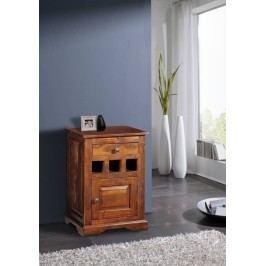 Koloniálny nočný stolík, masívne akáciové drevo