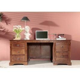Koloniálny písací stôl, masívny akáciový nábytok
