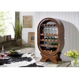Koloniálny regál na víno, masívny akáciový nábytok
