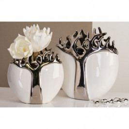Bighome - Váza TREES 21 cm - strieborná/biela